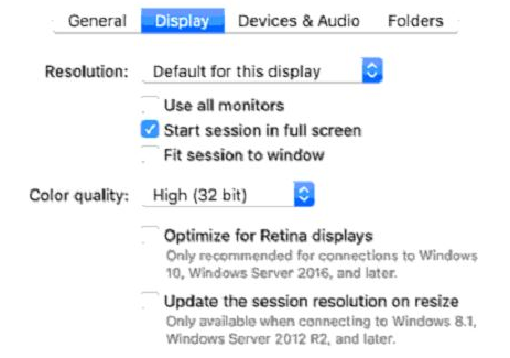 Microsoft Remote Desktop for Mac: Display Settings
