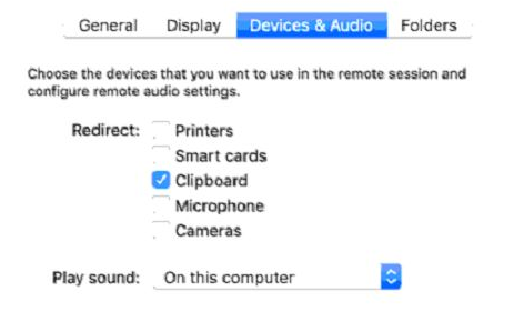 Microsoft Remote Desktop for Mac: Device Settings